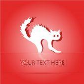 Cat. Paper sticker as bookmark. Vector illustration. Eps10.