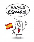 I speak spanish. This businessman speaks spanish. he says I speak spanish.