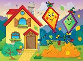 Autumn theme with kites and house - eps10 vector illustration.