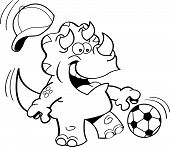Cartoon triceratops playing soccer