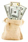 dollar bills in a canvas sack