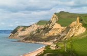 Cottage By Cliffs At West Bay Dorset In Uk
