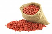 dried goji berries (Lycium Barbarum - Wolfberry) in a burlap bag on white background