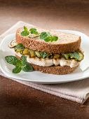 sandwich with grilled chicken and sauteed zucchinis