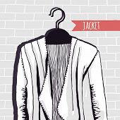 Vector illustration, jacket, brick wall