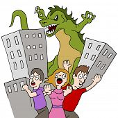 An image of a monster destroying city while people run.