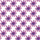Seamless Pattern With Bright Abstract Flowers, Hand-drawn.