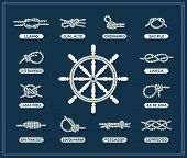 picture of rudder  - Vintage illustrations of white nautical rope knots over blue background - JPG
