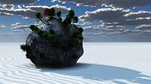 Fantasy Rock Island in Zen Like Minimal Landscape