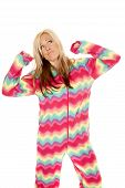 Woman In Colorful Pajamas Stand Stretch Look Up