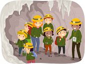 Illustration of Preschool Kids on a Cave Tour