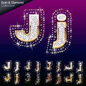 Shiny font of gold and diamond vector illustration. Letter j