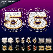 Shiny font of gold and diamond vector illustration. Number 5 - 6
