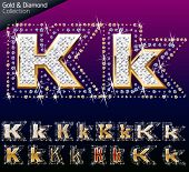 Shiny font of gold and diamond vector illustration. Letter k