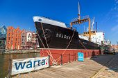 GDANSK, POLAND - 20 MAY: SS SOLDEK on Motlawa river in Gdansk, May 20, 2014. SS SOLDEK is the first