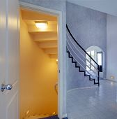 Modern Foyer. View Of Staircase To Basement