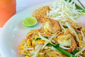 Thai food , stir-fried rice noodles (Pad Thai)