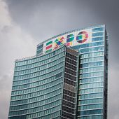 Skyscraper With Expo Logo At Porta Nuova In Milan, Italy