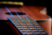 stock photo of ukulele  - Ukulele fretboard part of ukulele hawaiian guitar - JPG