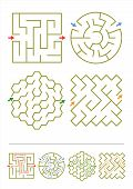 Four maze games for kids with answers