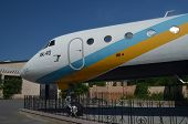 KIEV, UKRAINE - MAY 26, 2014: The monument of airplane Yak-40 (Codling) near technical laboratories of National Polytechnic University on May 26, 2014 in Kiev, Ukraine