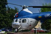 KIEV, UKRAINE - MAY 26, 2014: The monument of helicopter Mi-2 (Codling) near technical laboratories