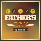 Father's day card with retro design elements. Vector illustration.