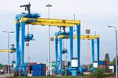 Large Harbor Cranes, Cranes In A Seaport