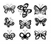 Set Of 9 Butterflies