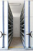 image of movable  - Automated shelving system with mobile cabinet for documents - JPG