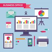 Business Office - Vector Concept Illustration in Flat Design Style for presentation, booklet, web si