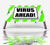 stock photo of maliciousness  - Virus Ahead Displaying Viruses and Future Malicious Damage - JPG