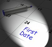 First Date Calendar Displays Seeing Somebody And Romance