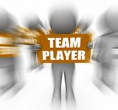 Characters Holding Team Player Signs Displays Teamwork Or Teammate