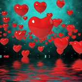 Heart Balloons On Background Displays High In Love Or Passionate Romance