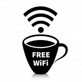 Internet cafe concept. Hot cup of coffee with wireless signal.
