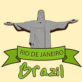 Brazil famous statue of Christ the Reedemer in Rio De Jenerio and green ribbon, stylish poster, banner or flyer design on yellow background.