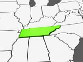Three-dimensional map of Tennessee. USA. 3d