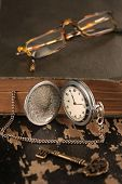 Intage Pocket Watch Old Book And ?rass Key