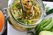potted vegetable noodles in glass jar