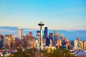 stock photo of washington skyline  - Downtown Seattle as seen from the Kerry park in the evening - JPG