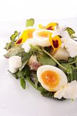 soft boiled quail eggs with watercress and beetroot salad