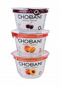 Three Chobani Greek Yogurt Cups