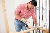 Attractive Carpenter At Work