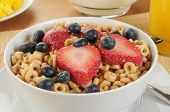 Cold Cereal With Strawberries And Blueberries