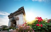 Laos, Vientiane - Patuxai Arch monument. Famous travel destination in Asia