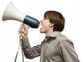 The person with bullhorn