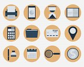 Modern flat icons vector collection, web design objects, business, finance, office and marketing ite