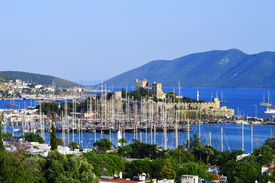 picture of gumbet  - View of Bodrum harbor during hot summer day - JPG