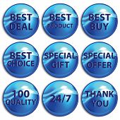 Set Of Blue Stickers On White Background.